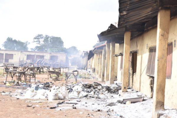 Houses destroyed at Kasuwan Magani in Kajuru local government following violence