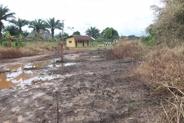 The oil pipeline explosion site in Osisioma, Abia State