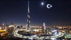 Artist's rendition of artificial crescent moon.
