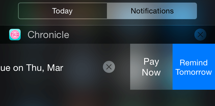 Accessing Chronicle's interactive notifications.