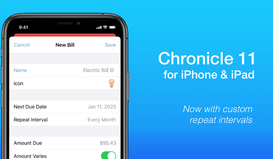 New Bill Editor in Chronicle 11 for iPhone & iPad