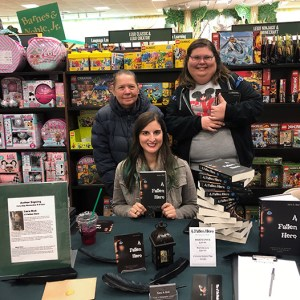 Author Sara A. Noe with fans at Barnes and Noble book signing for A Fallen Hero