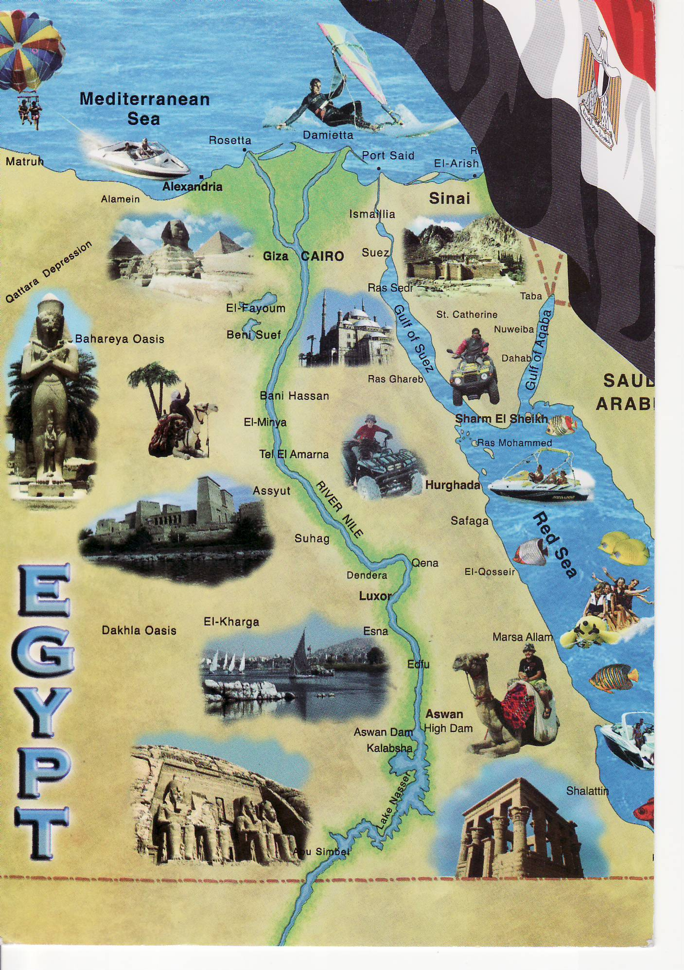 Map On Postcard Egypt