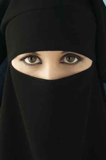 Eyes of woman wearing hijab
