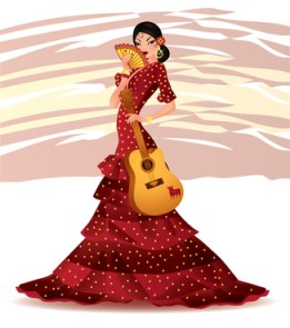 Beautiful Spanish girl with guitar, vector illustration