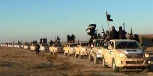 véhicules militaires de l'EI sur la route de Rakka