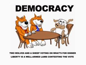 """""""Deux loups et un mouton votent pour décider du diner. La liberté est un mouton bien armé pour contester le vote""""."""