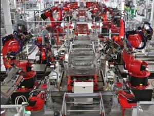 Chaine de montage automobile sans ouvrier.