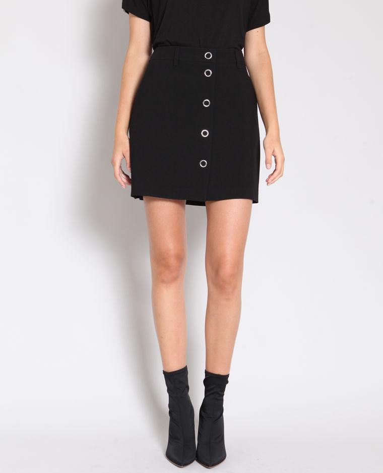 jupe boutonnée noire pimkie