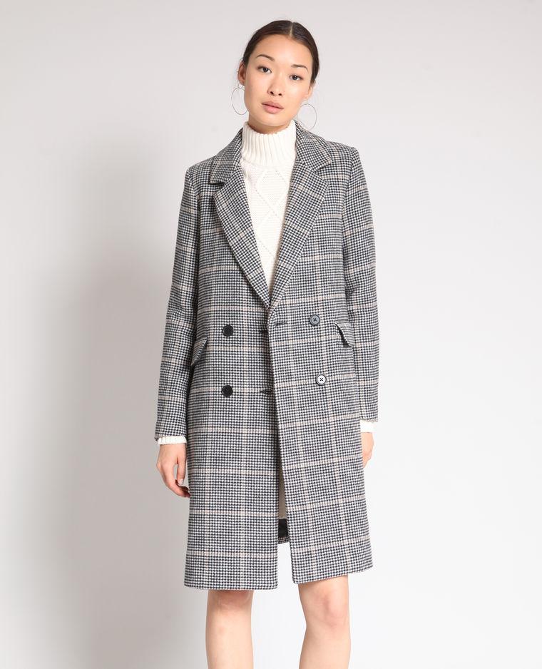 manteau long imprimé pied de poule pimkie