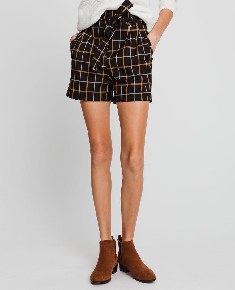 short à carreaux noir et jaune pimkie