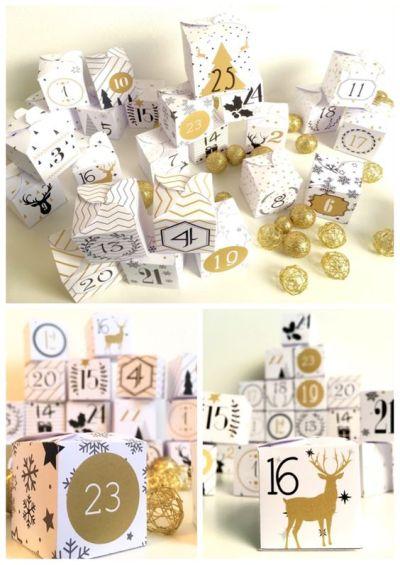 calendrier de l'avent DIY or et blanc