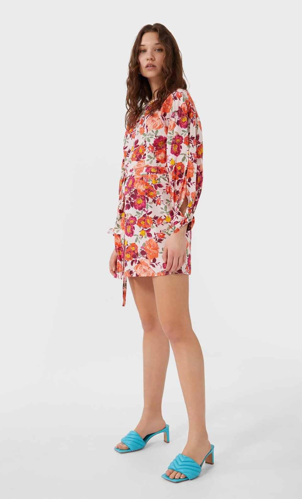 robe fleur orange