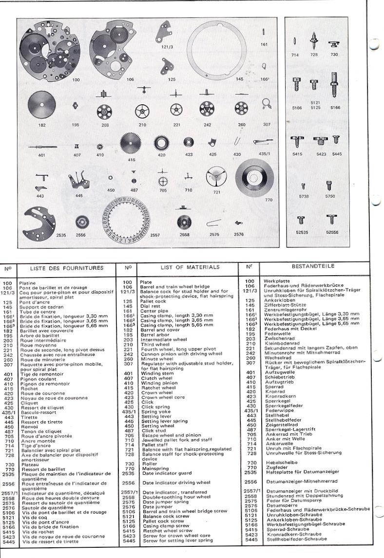Valjoux Calibre Series Chronograph Parts Manual