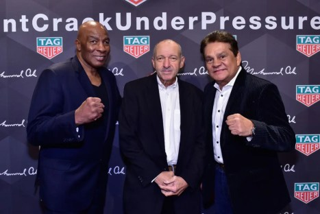 NEW YORK, NY - OCTOBER 25: (L-R) Boxer Earnie Shavers, Gleason's Gym President Bruce Silverglade, and Boxer Roberto Duran attend the Muhammad Ali tribute event at Gleason's Gym on October 25, 2016 in New York City. (Photo by Eugene Gologursky/Getty Images for TAG Heuer)