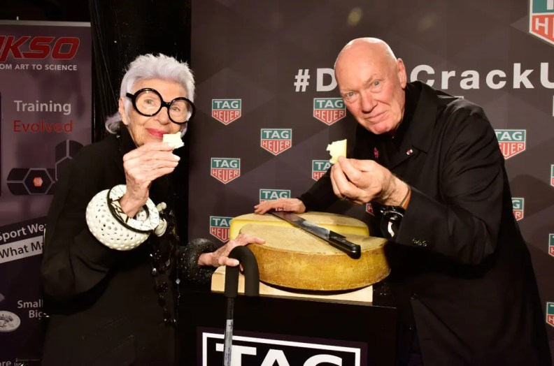 NEW YORK, NY - OCTOBER 25: Iris Apfel and CEO of TAG Heuer Jean-Claude Biver attend the Muhammad Ali tribute event at Gleason's Gym on October 25, 2016 in New York City. (Photo by Eugene Gologursky/Getty Images for TAG Heuer)