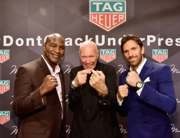 NEW YORK, NY - OCTOBER 25: (L-R) Boxer Evander Holyfield, CEO of TAG Heuer Jean-Claude Biver, and Professional Hockey Player Henrik Lundqvist attend the Muhammad Ali tribute event at Gleason's Gym on October 25, 2016 in New York City. (Photo by Eugene Gologursky/Getty Images for TAG Heuer)