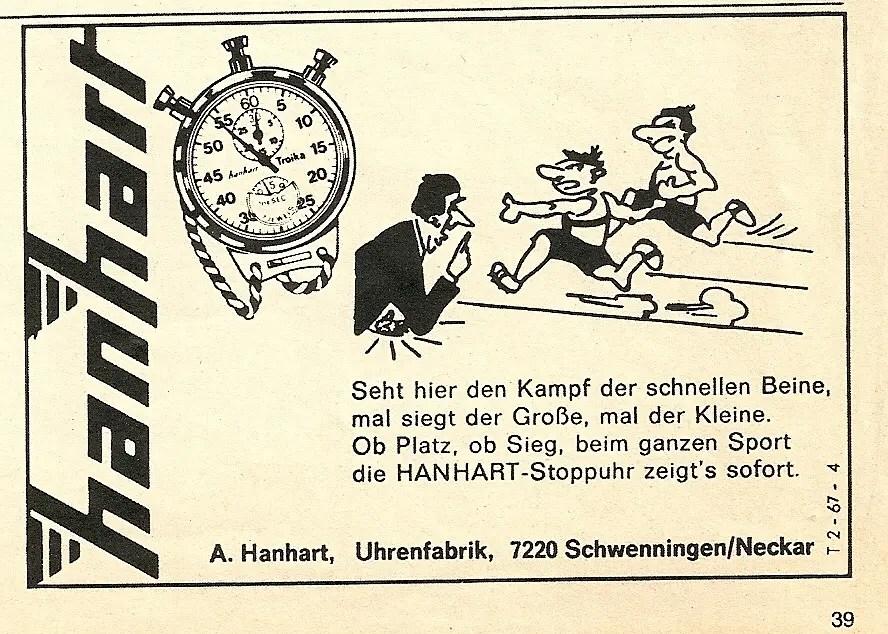 Hanhart Advertising Werbung Vintage Stop Watches Stopuhr
