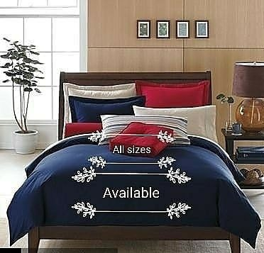 Blue and Red Mix Plain Bedsheets with Duvet