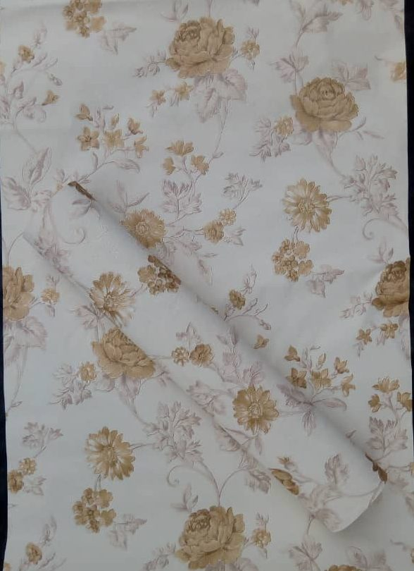 Gold and White Floral Patterned Wallpaper