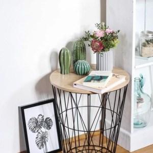 Geometric Black Wire Circular Side Table