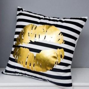 Lipstick Gold Foil Print Throw Pillow