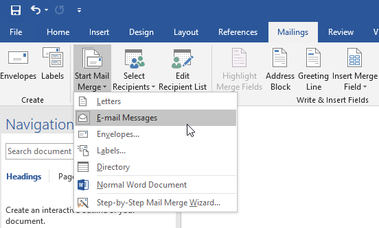 3 free ways to send personalized mass emails mail merge step 2 open a new word document on the mailings tab in the start mail merge group choose start mail merge e mail messages m4hsunfo