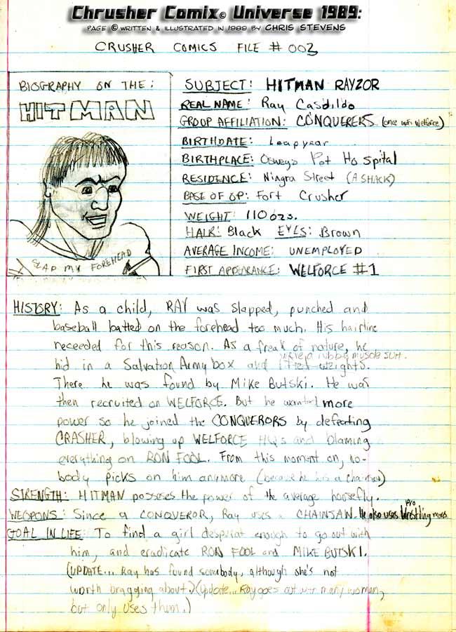Crusher Comics Universe RaYzor Hitman Cadildo 1988 Profile