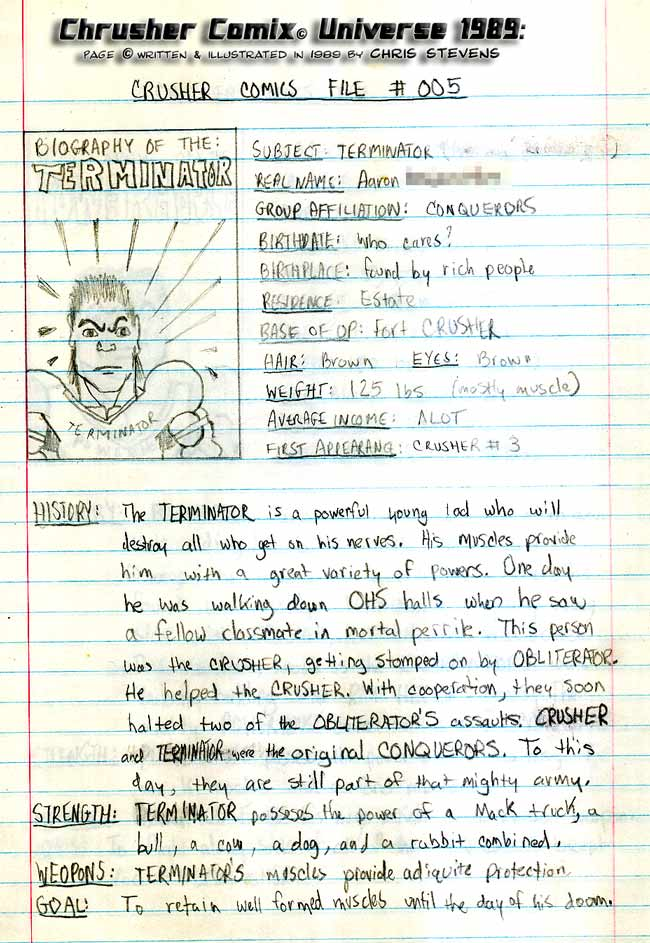 Crusher Comics Universe Aaron Terminator Terrorzulli 1988 Profile