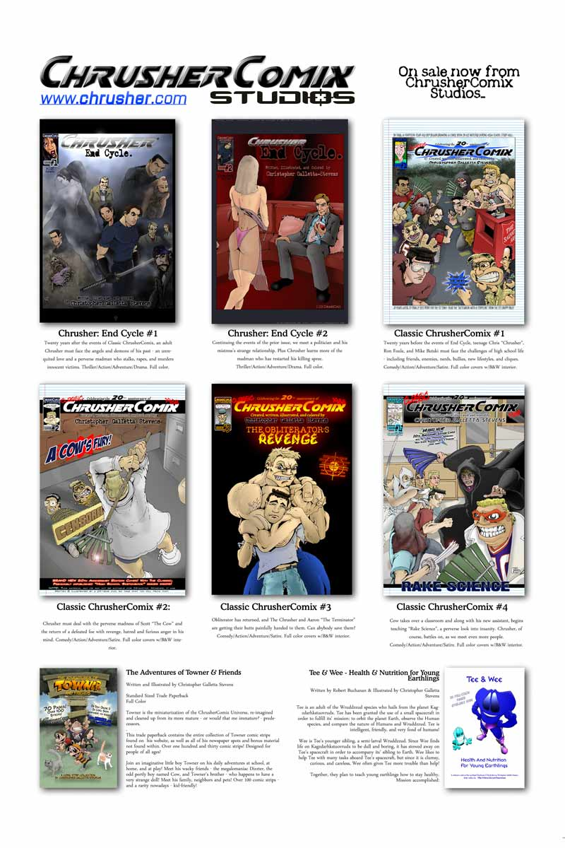 Ad: ChrusherComix Titles in-print are sold at IndyPlanet!