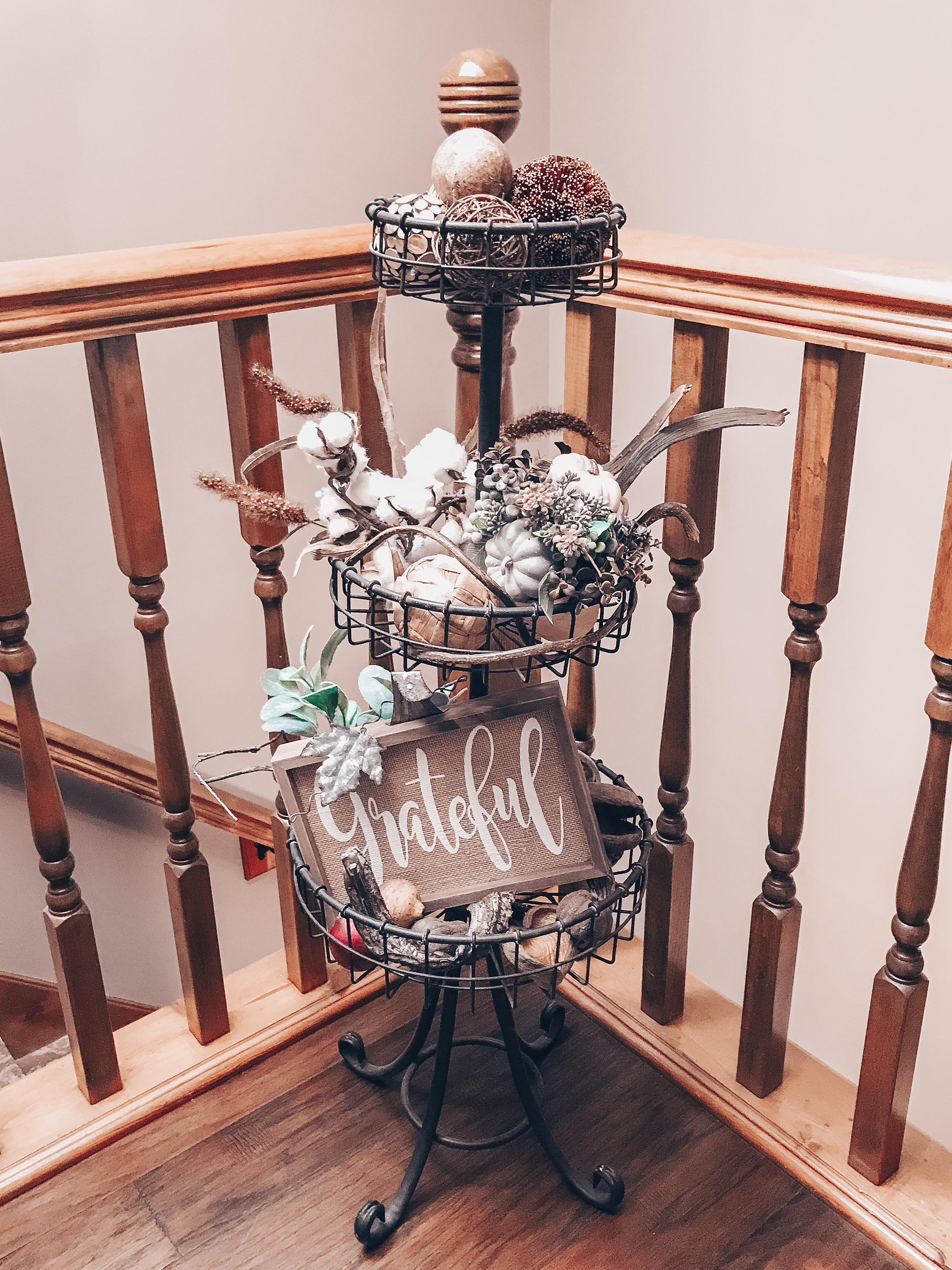 three tier basket stand fall decor