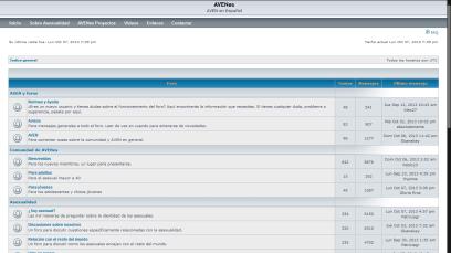 Captura de pantalla del foro de AVENes en 2013