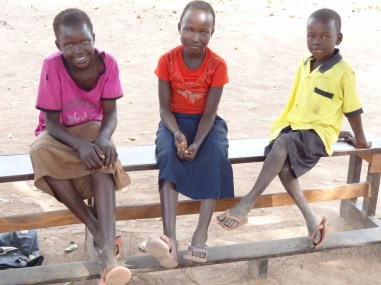 Children at a bench