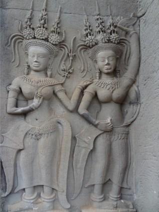 Two Apsaras in corner