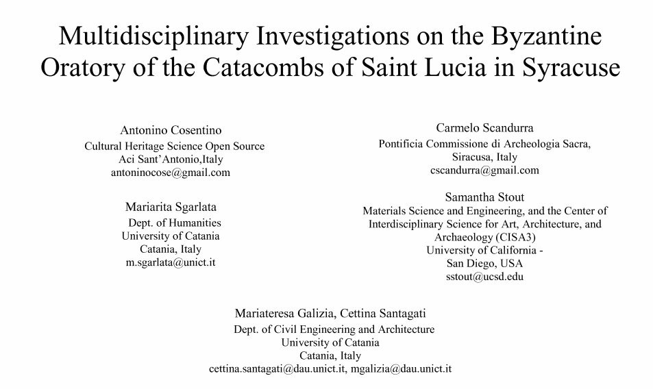 Multidisciplinary investigations on the byzantine oratory of the Catacombs of Saint Lucia in Syracuse