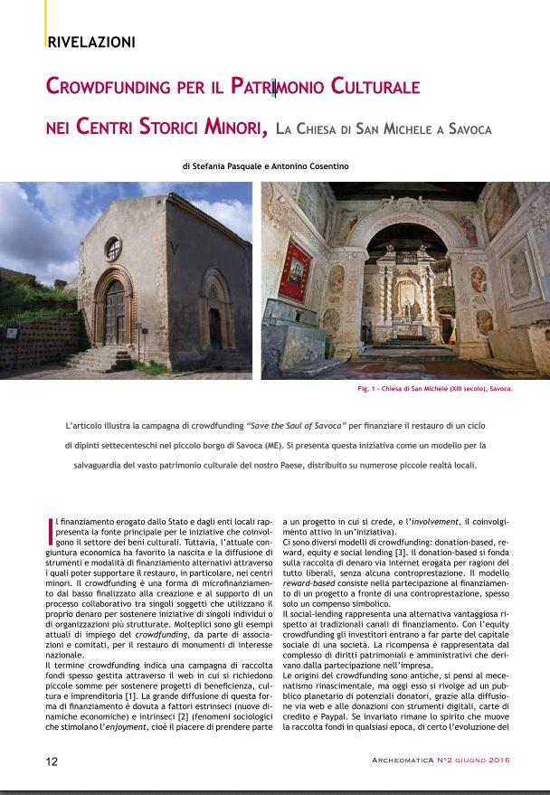 Crowdfunding per il patrimonio culturale nei centri storici minori