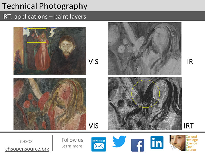 Transmitted infrared photography. Pigments become more transparent with transmitted infrared.