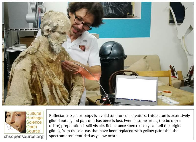 Reflectance Spectroscopy is a valid tool for conservators. This statue is extensively gilded but a good part of it has been is lost. Even in some areas, the bolo (red ochre) preparation is still visible. Reflectance spectroscopy can tell the original gilding from those areas that have been replaced with yellow paint that the spectrometer identified as yellow ochre.