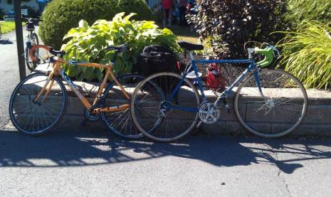 Our Bikes, Fred's is Orange, Mine is the Blue one