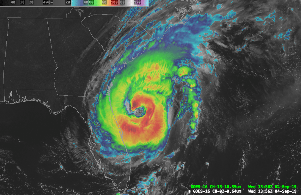 Combination IR/visible image of Hurricane Dorian.