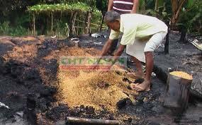 তাইন্দংয়ে সেটলাদের অগ্নিসংযোগে পুড়ে যাওয়া ধান ও ঘরবাড়ি # ফাইল ছবি
