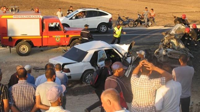 اصطدام عنيف بين عدد من السيارات يخلف قتيل ومعطوبين