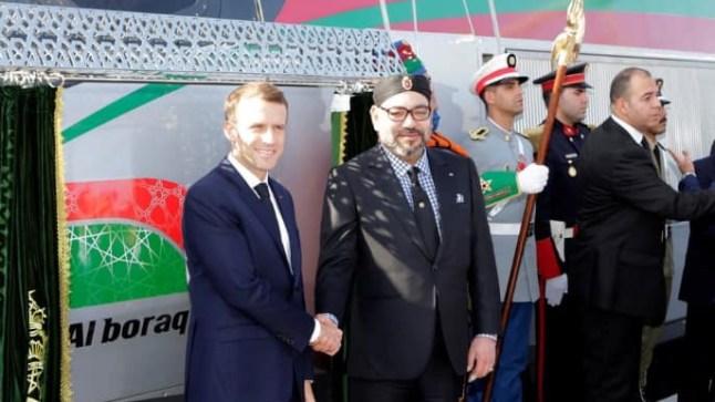 """""""البراق"""" يصل إلى الرباط وعلى متنه الملك محمد السادس والرئيس الفرنسي ماكرون في أول رحلة"""