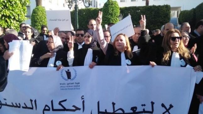 """""""المادة 9 جريمة و اعتداء على هيبة القضاء""""..محامون ينتفضون أمام البرلمان!"""