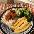 Ofe osikapa or Nigerian Stew with white rice, boiled plantains, and steamed broccoli