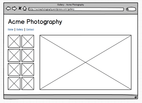 Gallery page mockup