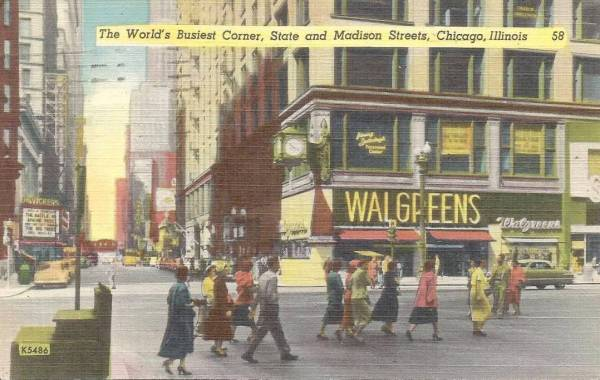 POSTCARD – CHICAGO – STATE AMD MADISON – LOOKING W ON ...