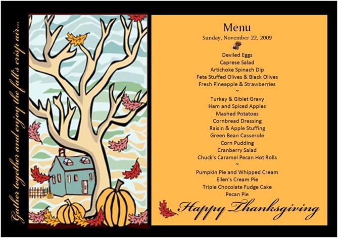 Memo concerning Thanksgiving 2009