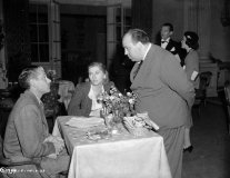 Laurence Olivier, Joan Fontaine and Alfred Hitchcock