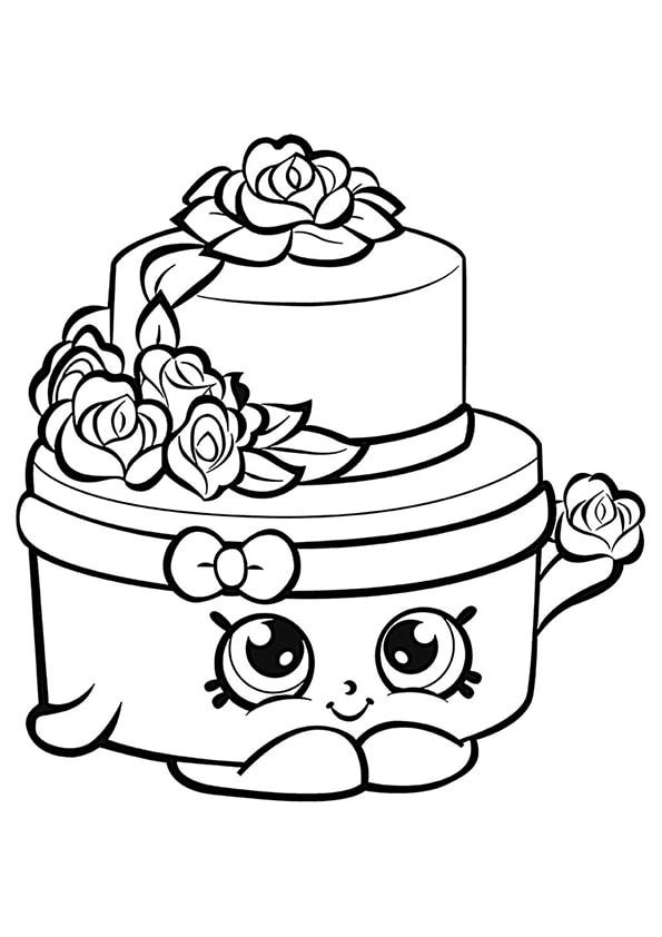 Раскраска Шопкинс Свадебный торт   Шопкинс   Чудо ребенок